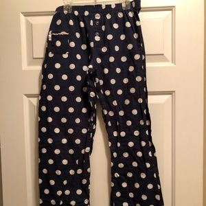 Blue and white polka dot pajama pants